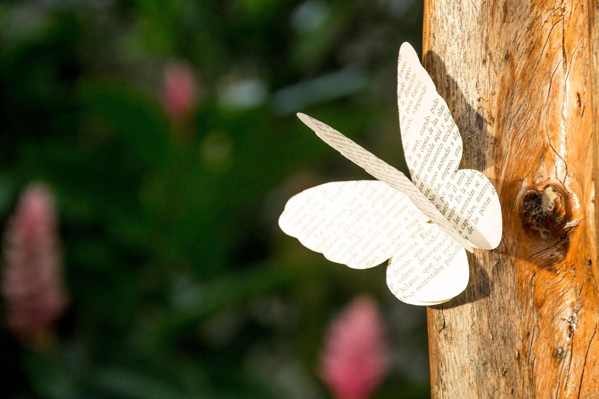 Sommerfugl lagd i papir, foto Idearriba fra Pixabay