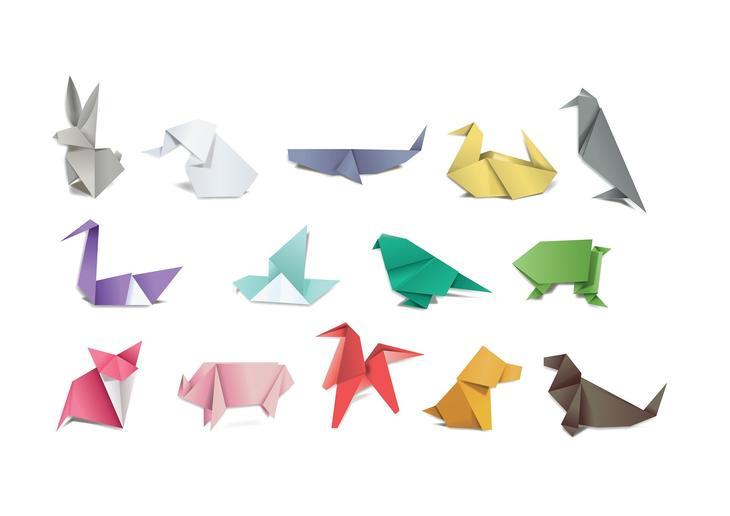 En rekke origamifigurer, foto: Nic0leta fra Pixabay