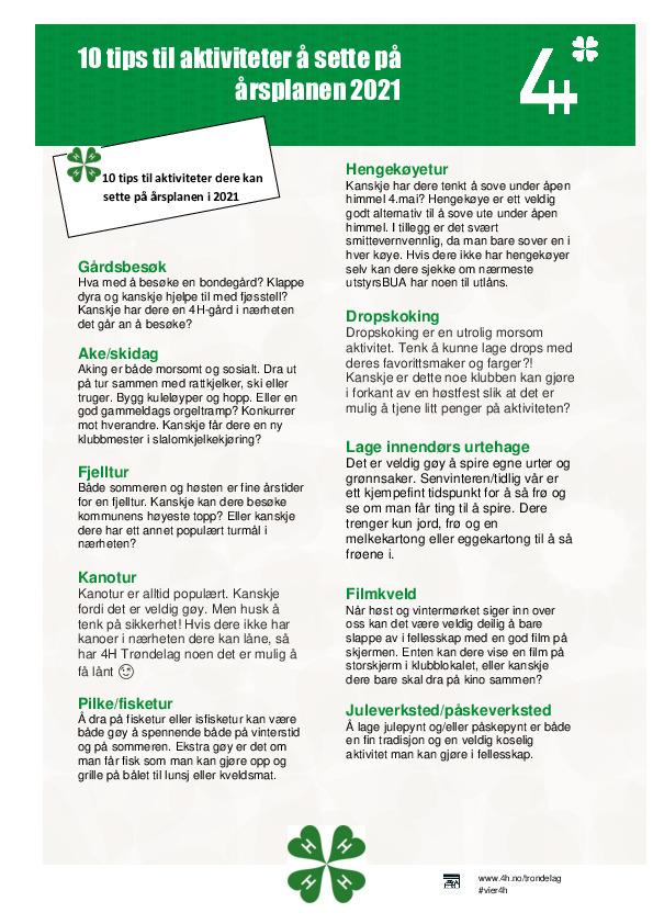 10 tips til aktiviteter