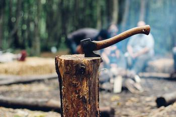 En øks som har hugget seg inn i et tre, foto: Free-Photos from Pixabay