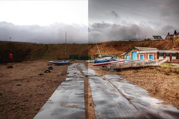 Strand med metallplater, båter og båthus før og etter redigering, foto: Jimmy McIntyre (HDR One Magazine via Wikimedia Commons)