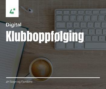 digital klubboppfølging med tastatur og kaffe som bakgrunn