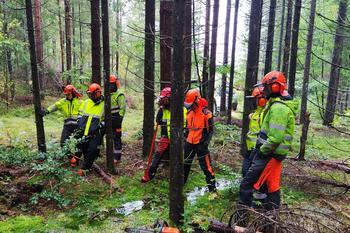 Kurs med flere deltakere i skogen, foto: André Larsen