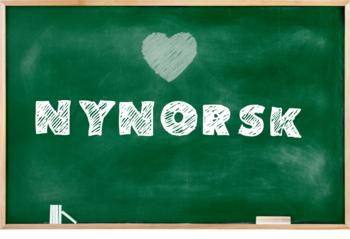 Illustrasjon tavle med teksten nynorsk og hjerte