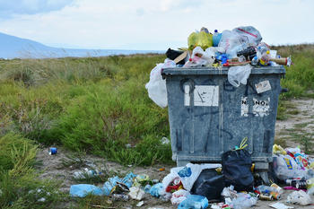 Container med søppel som flyter over, foto: RitaE fra Pixabay